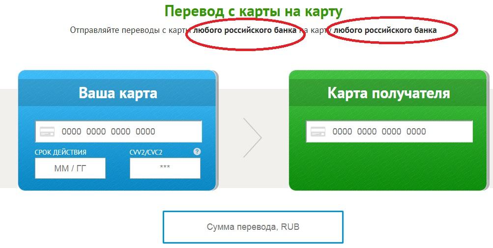 Перевод с карты на карту Уралсиб